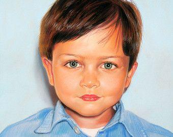 Portret van een foto met kind portret pastel handgemaakte