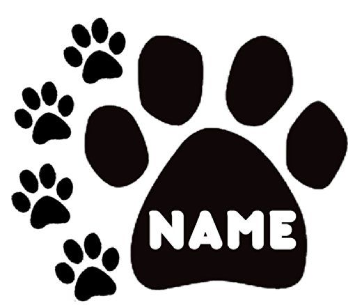 Paw Prints YOUR Or Pet Dog Cat Name Custom Black VINYL Decal Art - Custom vinyl wall decals cats