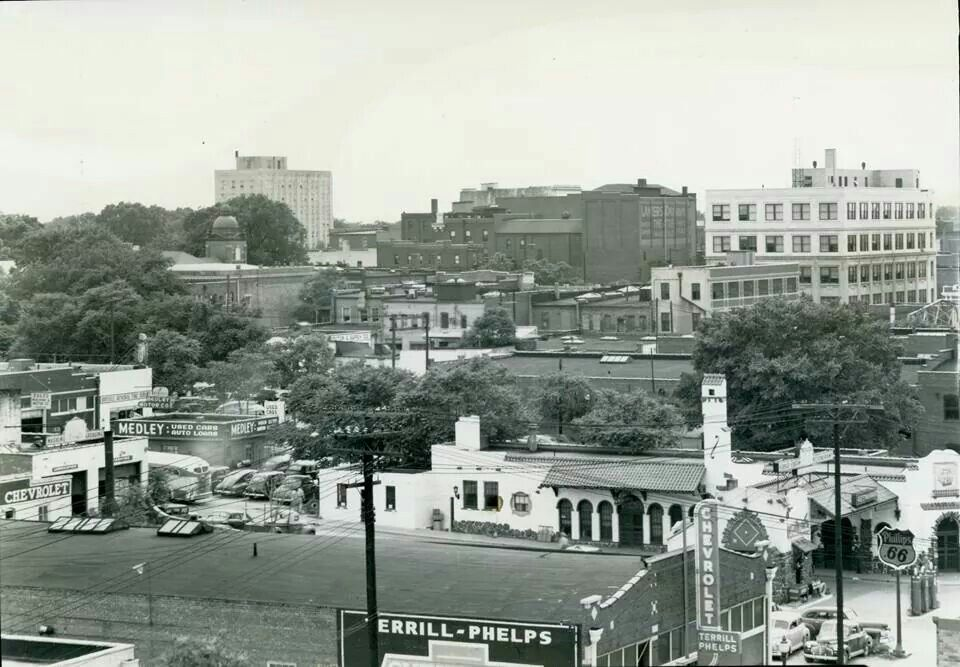 Looking Southwest from 500 block St. Louis St. 1940s