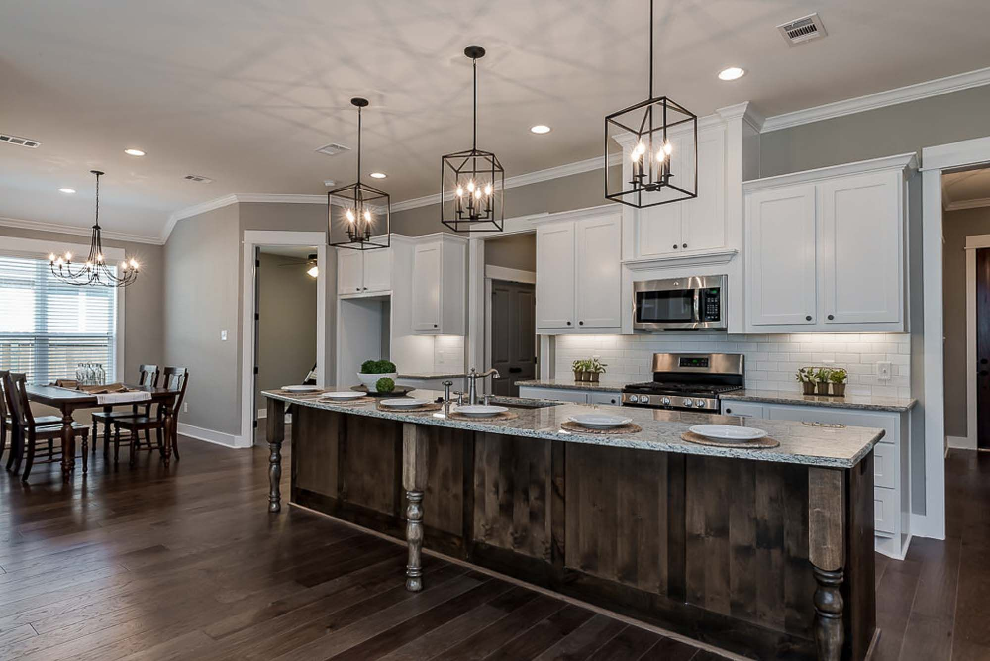Open concept kitchen with large island   Open concept kitchen ...