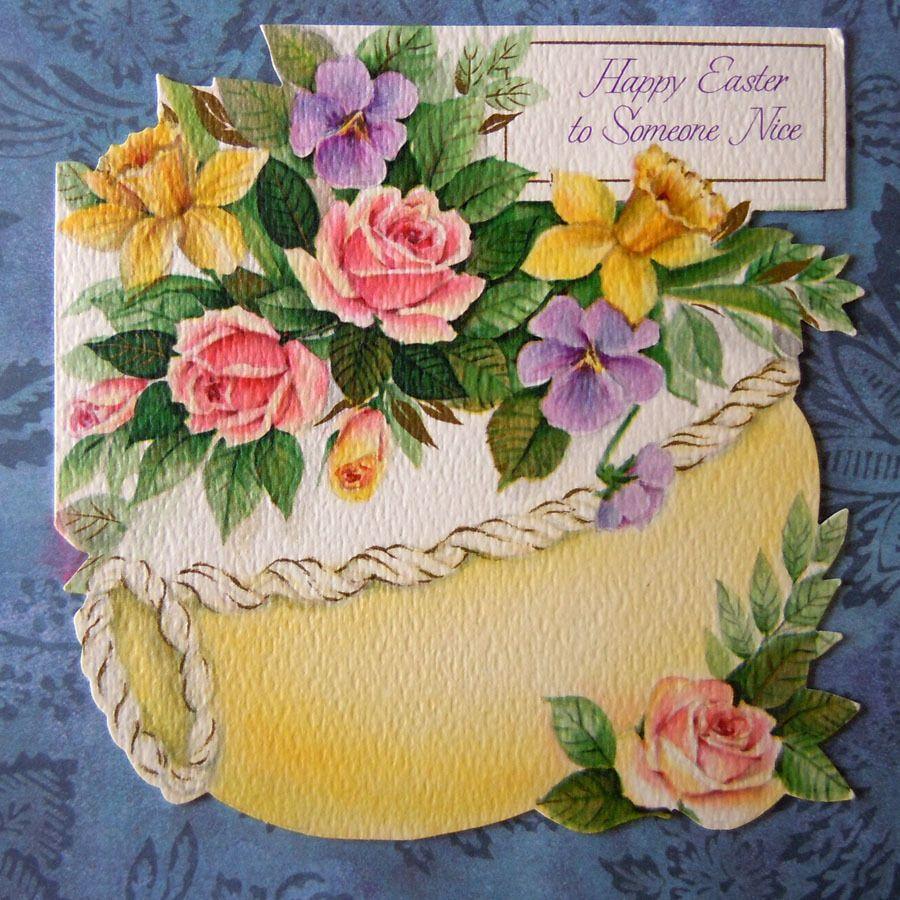 Vintage Easter Greeting Card Die Cut Sugar Easter Egg Floral