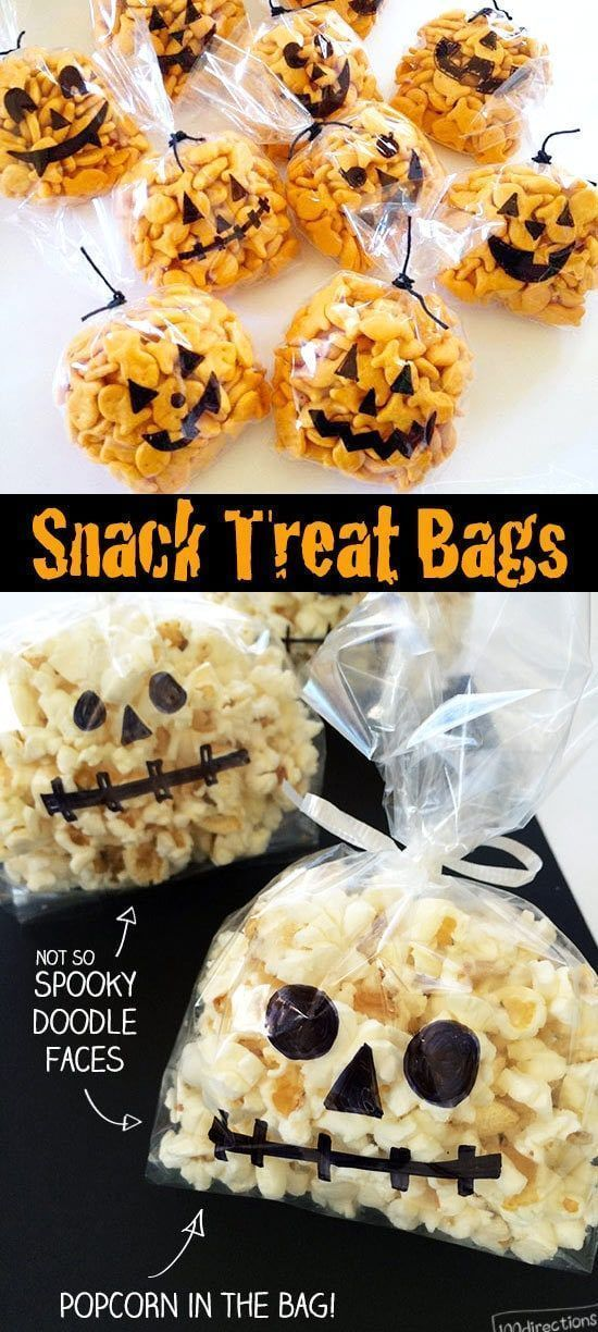 Goldfish Filled Mini Pumpkin Halloween Treats Cute Halloween Snack Bags – decorate bags yourself or add this to your Halloween Party activities. Easy Halloween craft with yummy non-candy treats the kids will love.