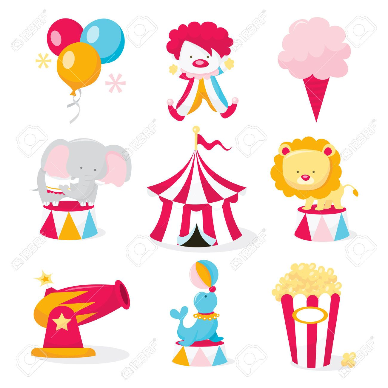 A Vector Illustration Set Of Cute Circus Theme Clip Arts Like Tent Animals