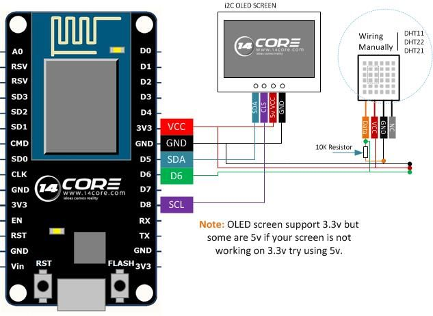 Wiring Dht11 Dht22 With Oled Screen On Esp8266 12e 14core Com Arduino Sensors Arduino Projects Arduino
