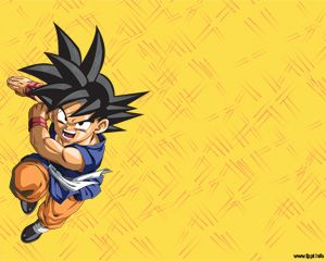 free goku powerpoint template over yellow background for anime