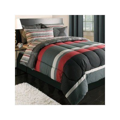 Amazon Com Boy Red Gray Black Stripe Dorm College Twin Xl Comforter Set 5pc Bed In A Bag Home Kitchen Comforter Sets Full Comforter Sets Bed In A Bag