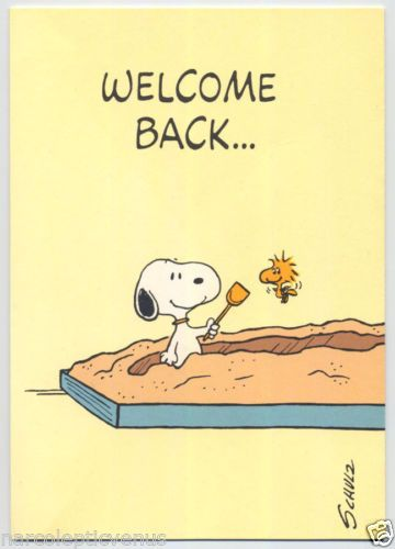 Snoopy peanuts greeting card welcome back woodstock sandbox vintage snoopy peanuts greeting card welcome back woodstock sandbox m4hsunfo