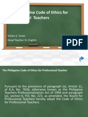 Code Of Ethics For Professional Teachers Pdf