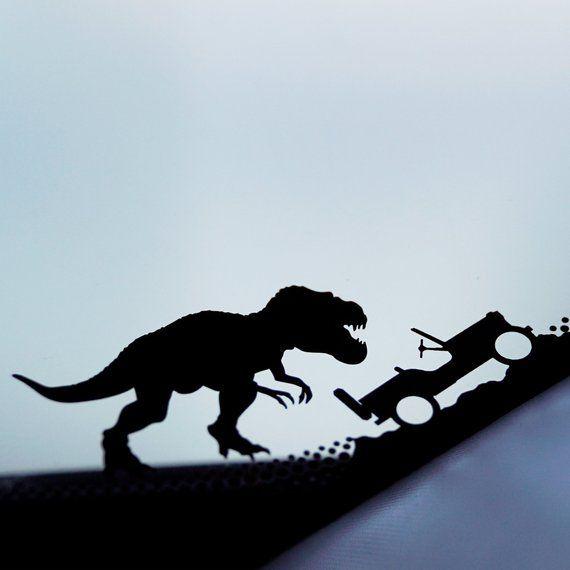 DINOSAUR CHASING GUY Vinyl Decal Sticker Car Window Wall Bumper Running Funny