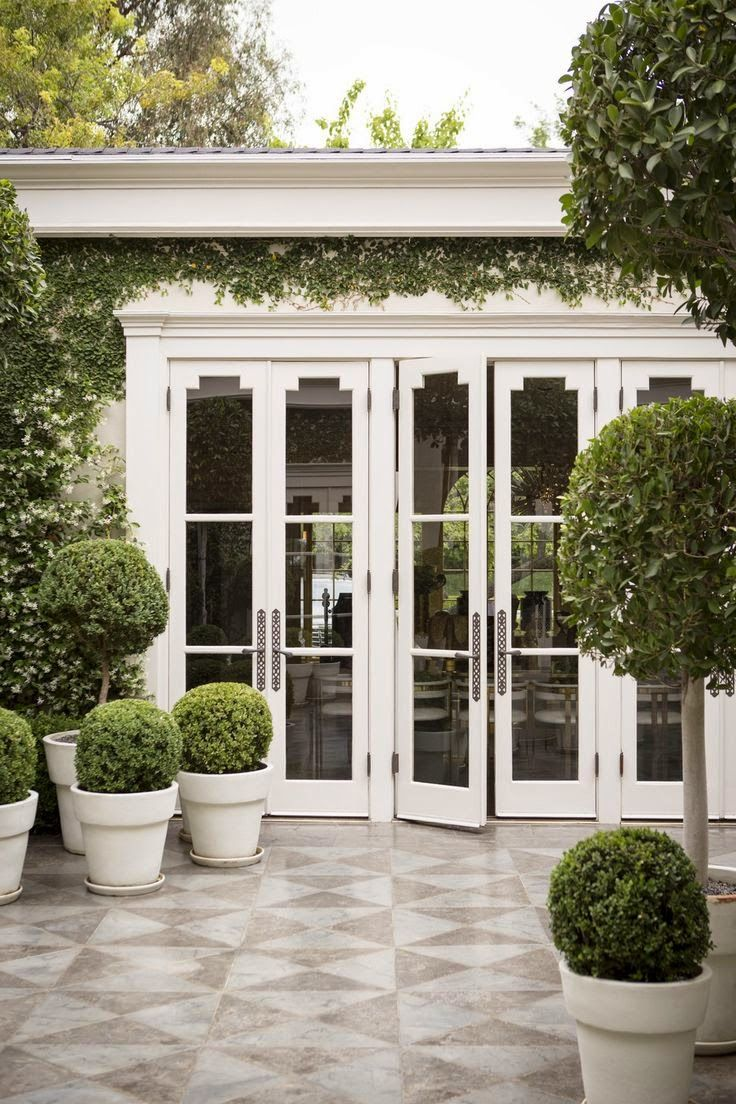 White french doors open out