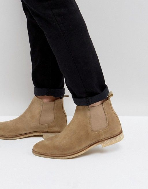 ASOS Chelsea Boots In Stone Suede With