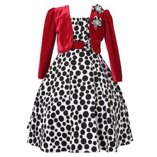 Richie House Little Girls Long Style Polka Dot Dress with
