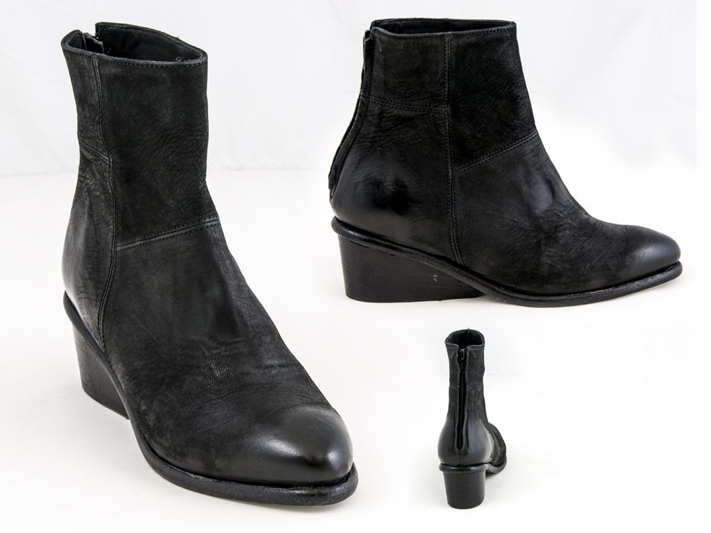38 THE LAST CONSPIRACY - distressed leather wedge ankle bootie in black, SKU: 0241250, $465 Contact BLU'S at shop@blus.com to order