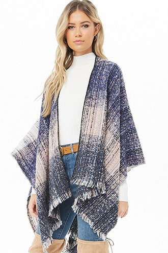 3287a388906c2 Multicolor Brushed Knit Poncho