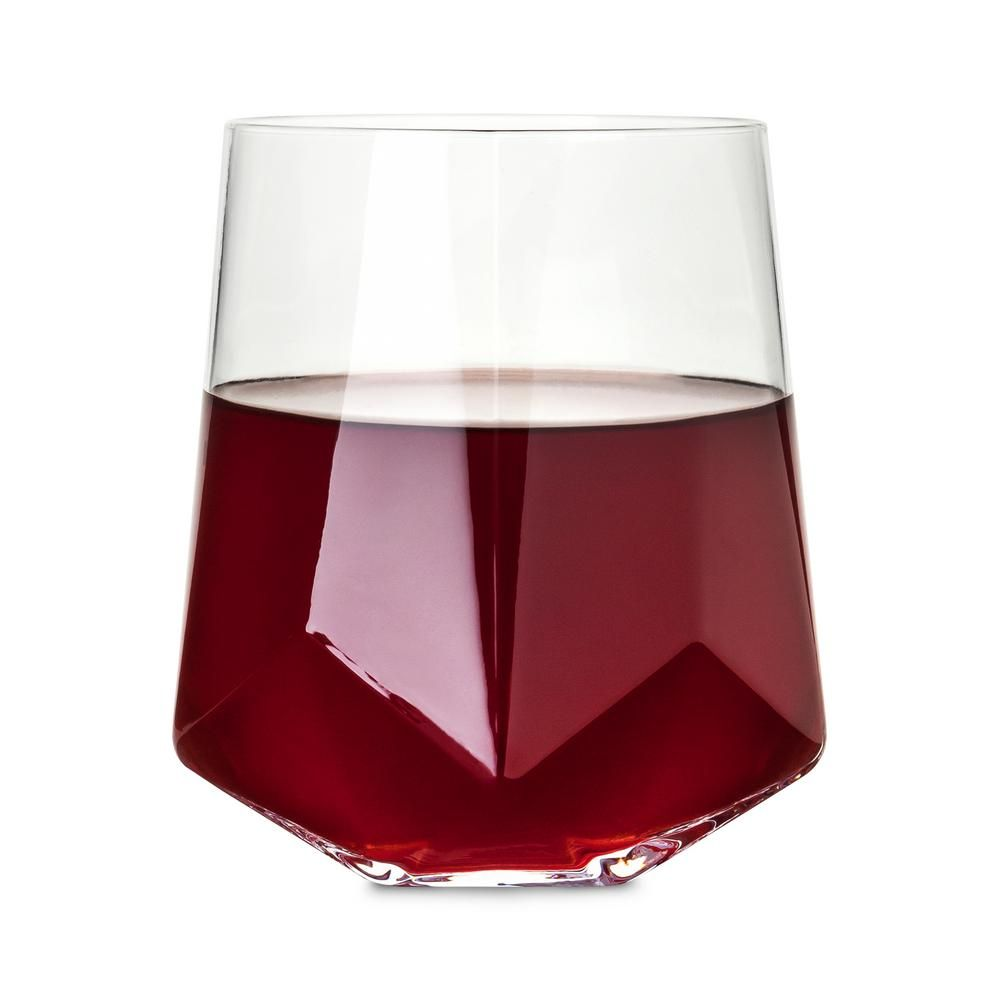 Viski 2 Piece Faceted Crystal Wine Glass Set 2214 The Home Depot In 2020 Wine Glass Set Crystal Wine Glasses Wine Glass