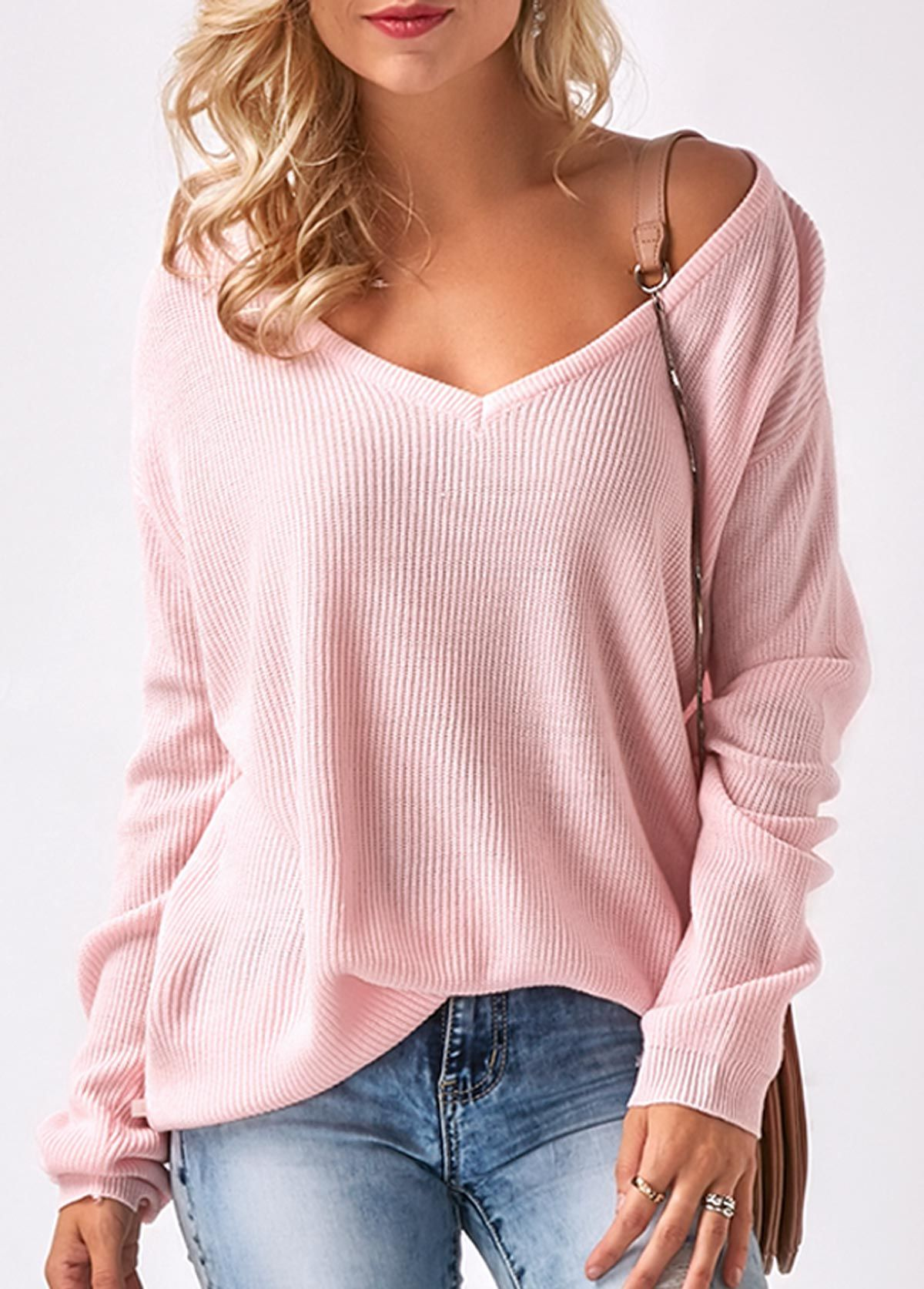 V Neck Long Sleeve Pink Sweater Stitch Fix Pinterest Sweaters