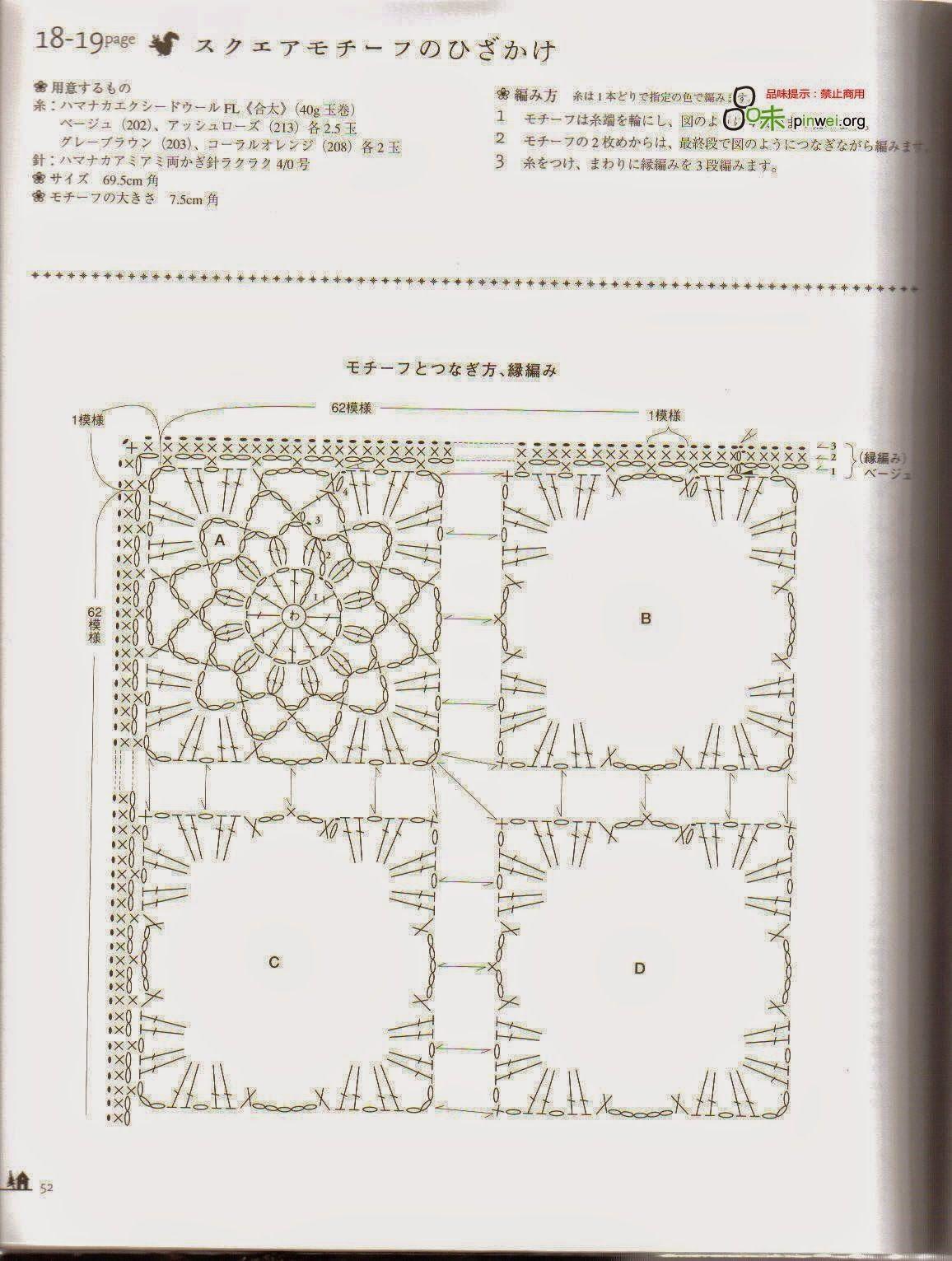 PATRONES GRATIS DE CROCHET: Patrón manta cuadros crochet | CROCHET ...