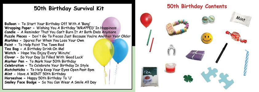 Happy 50th Birthday Survival Kit Crafty Pinterest Birthday