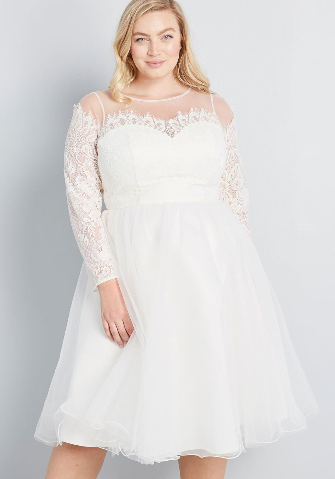 Celebratory Style Fit And Flare Dress By Chi Chi London From Modcloth Size 2 24 Plus Size Retro V Lace Dress Vintage Fit And Flare Dress Little White Dresses [ 1607 x 1125 Pixel ]