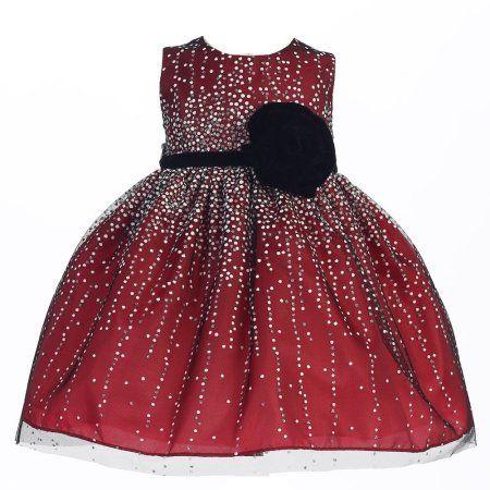 4ce59158823a Crayon Kids Baby Girls Red Velvet Flower Sash Sequin Christmas Dress ...