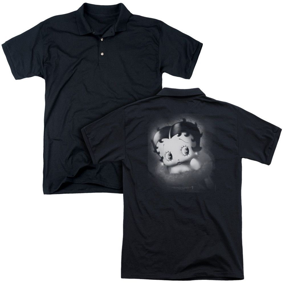 BETTY BOOP/VINTAGE STAR (BACK PRINT) - MENS REGULAR FIT POLO - BLACK -