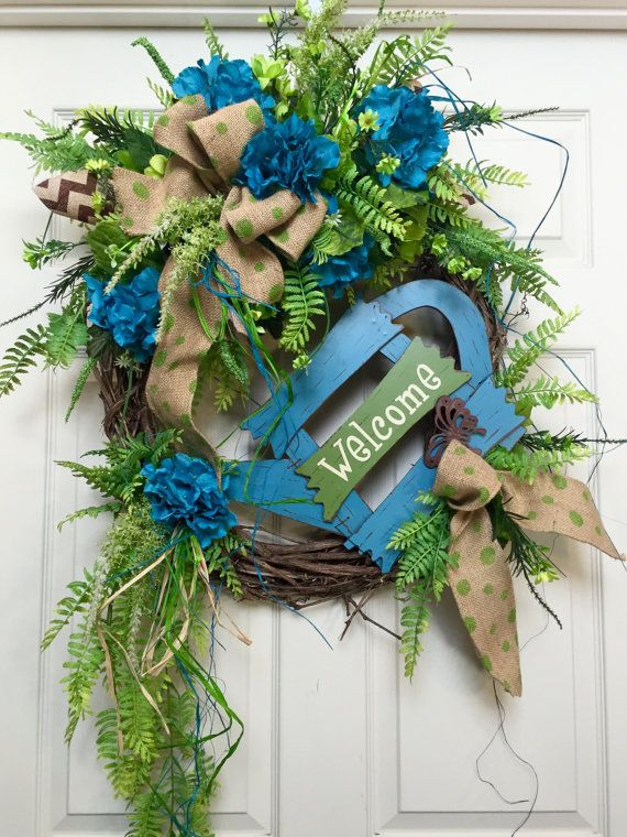 Welcome Turquoise and Green Round Summer or di WilliamsFloral