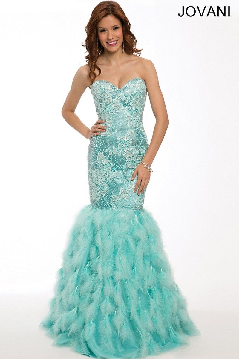 Jovani 22295 Lace Bodice Feather Trumpet Skirt Mermaid Silhouette ...