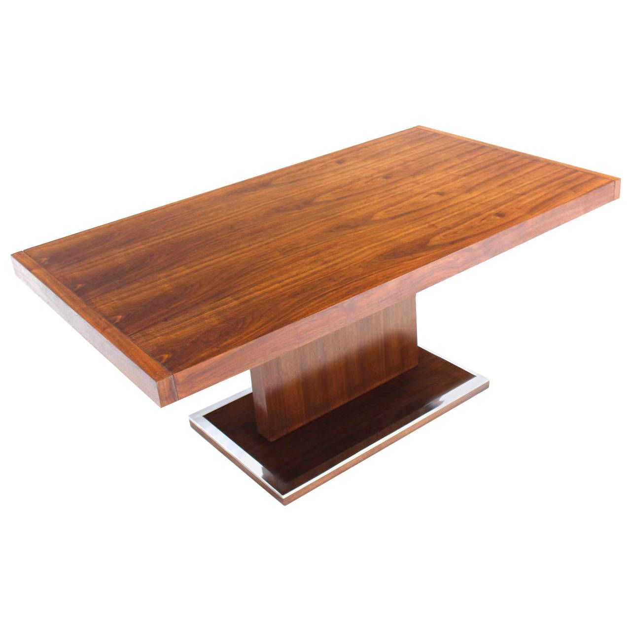 mid century modern rectangular pedestal base walnut dining