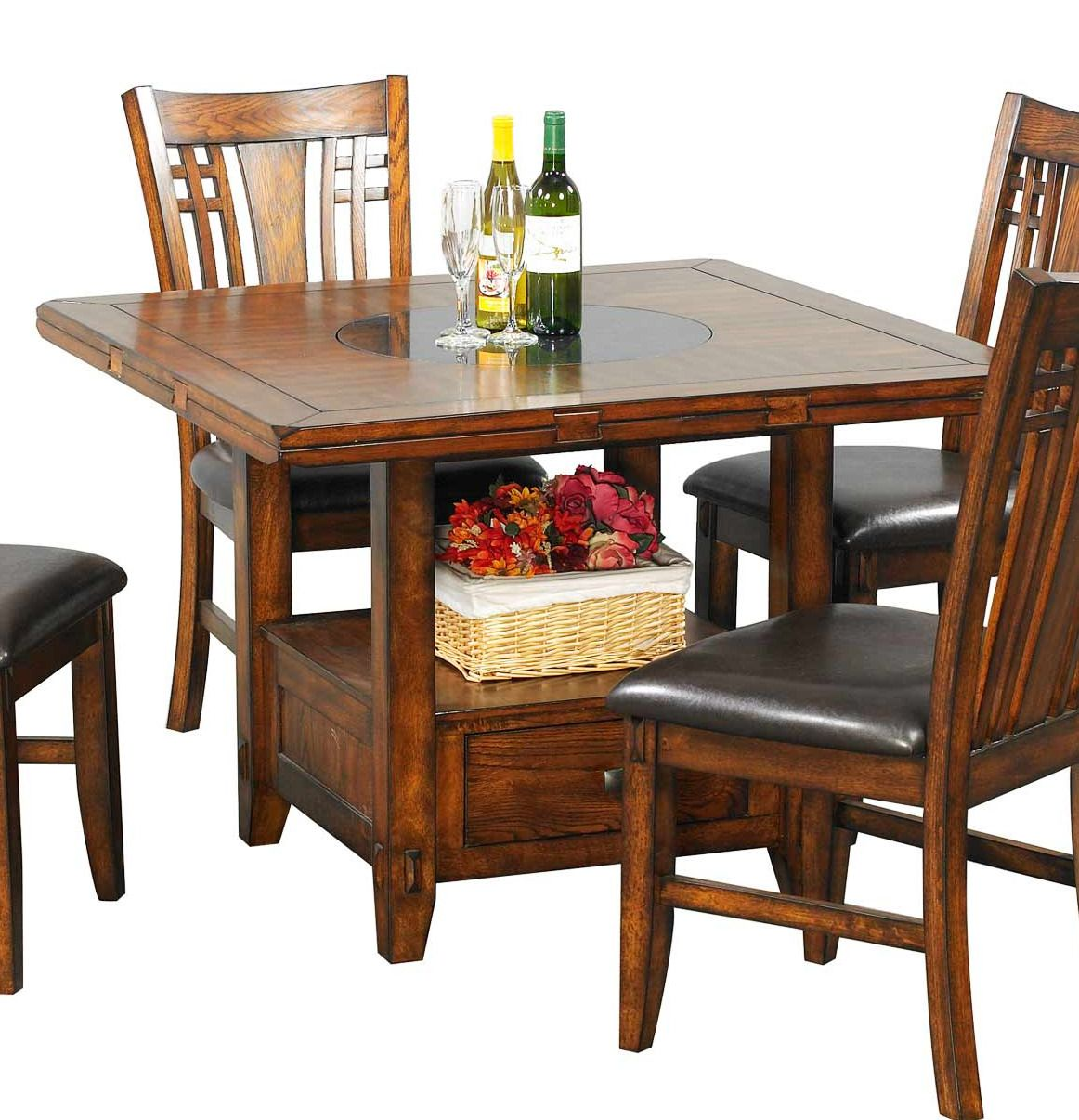 Zahara Square Round Pedestal Dining Table With Lazy Suzan In Oak
