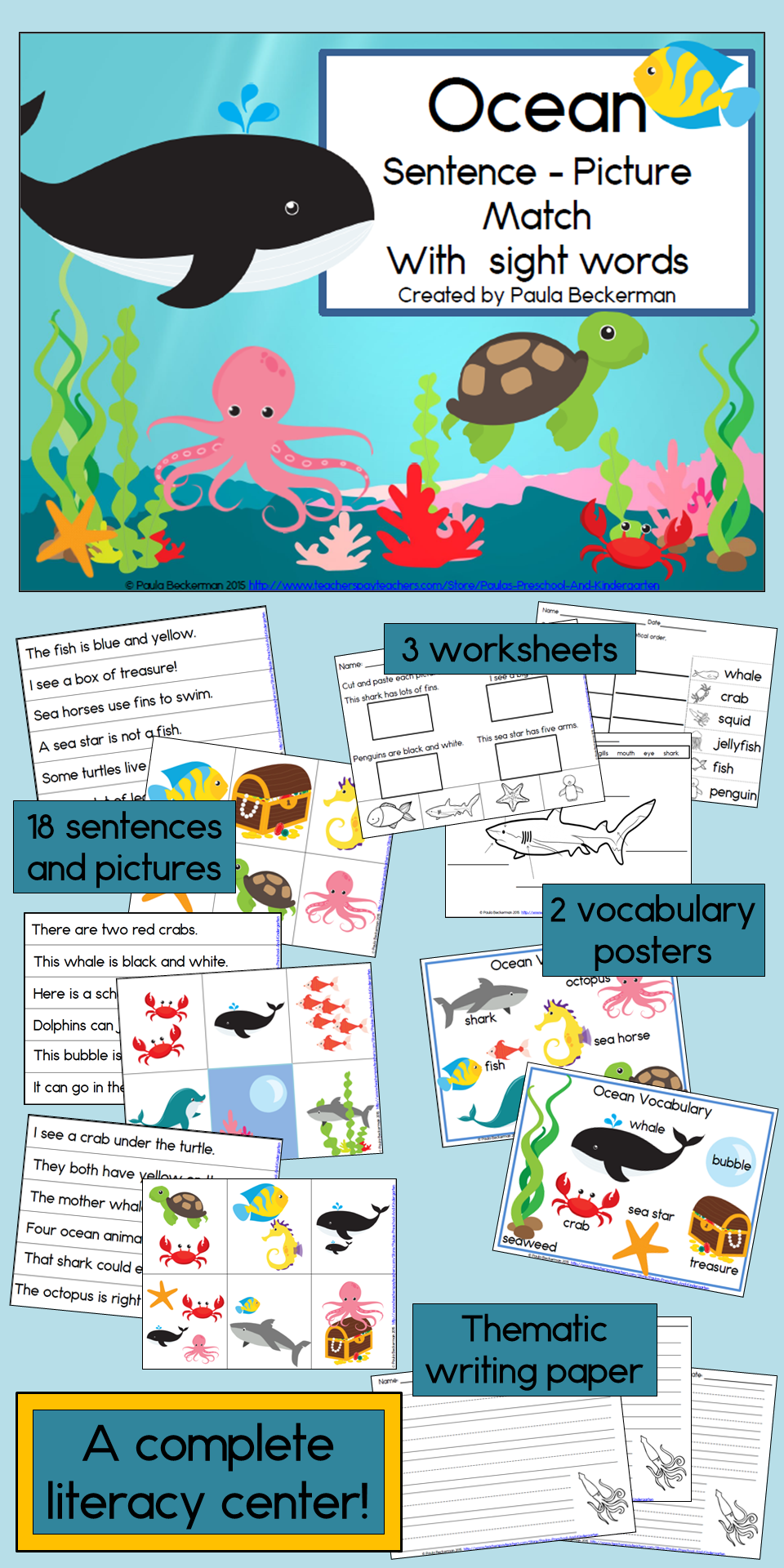 Ocean Sentence Picture Match Reading Center with Sight Words | Ocean ...