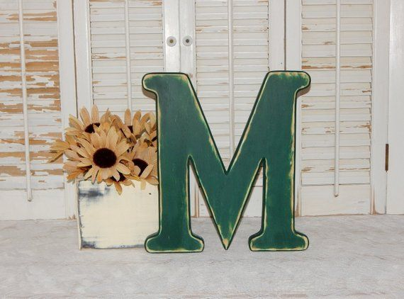 wooden letter m distressed wood letters 12 tall made to order choose letter color
