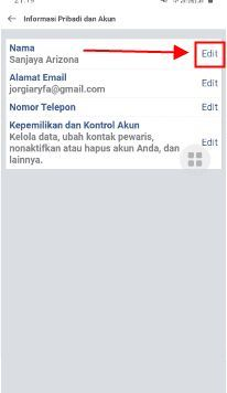 cara mengubah nama di facebook