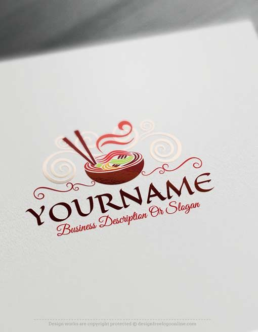 Free Logo Maker - Ready made Online Noodles Logo design Logo maker