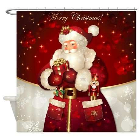 Elegant Christmas Shower Curtain Christmasshowercurtainglam Santaclausshowercurtainglam
