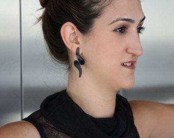 Polymer Black Wave Earrings Plastic Earrings Black Earrings Jewelry earrings Designer Unique earrings 2203 - Edit Listing - Etsy