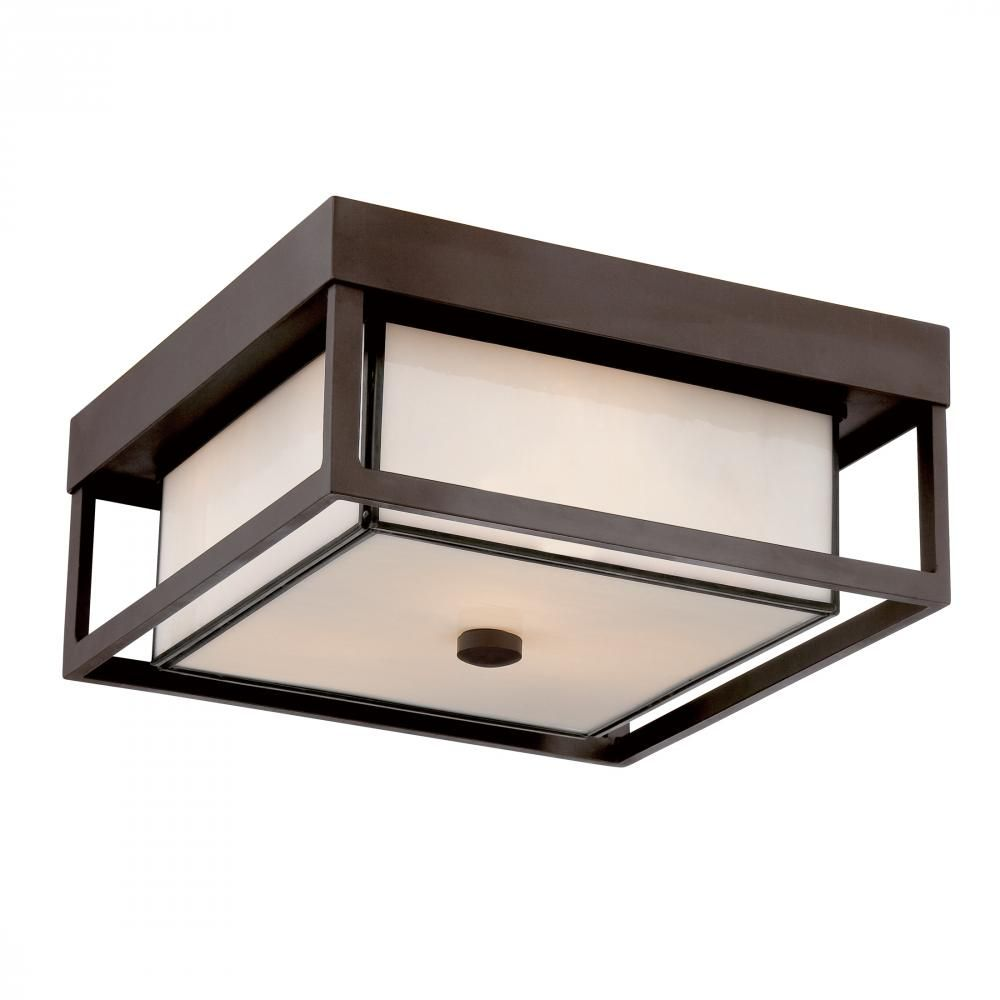Three Light Western Bronze White Square Glass Outdoor Flush Mount