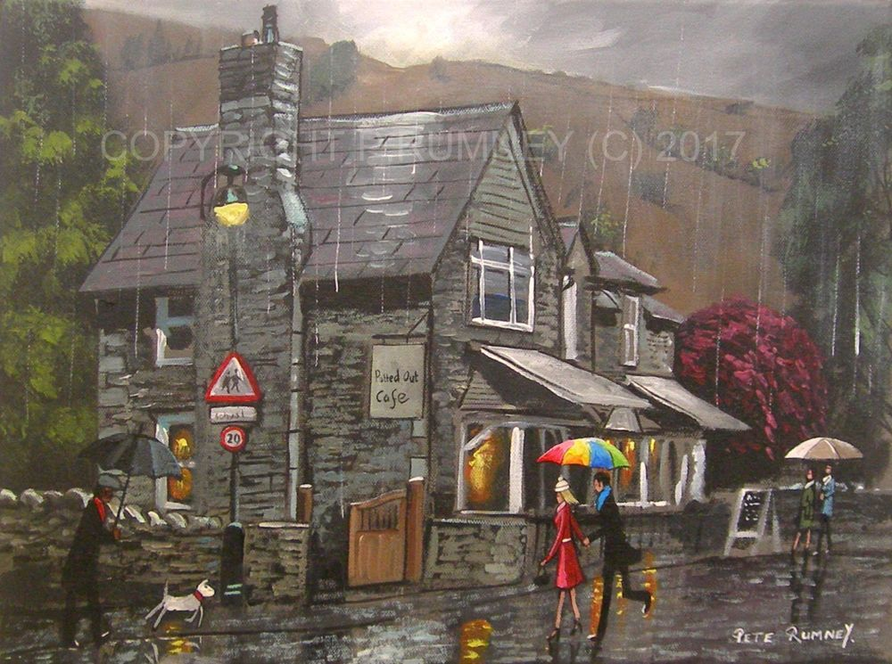 PETE RUMNEY FINE ART ORIGINAL ACRYLIC PAINTING RAINY DAY POTTED OUT CAFE SIGNED in Art, Direct from the Artist, Paintings | eBay!