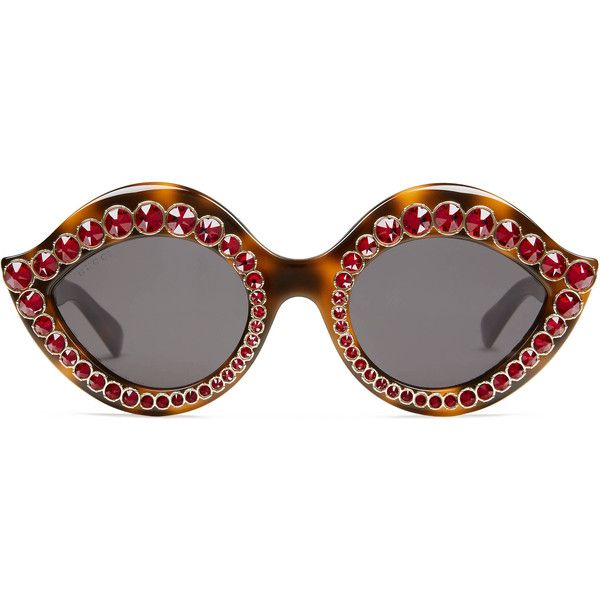 544c757c0ee Gucci Cat Eye Acetate Sunglasses With Crystals ( 760) ❤ liked on Polyvore  featuring accessories