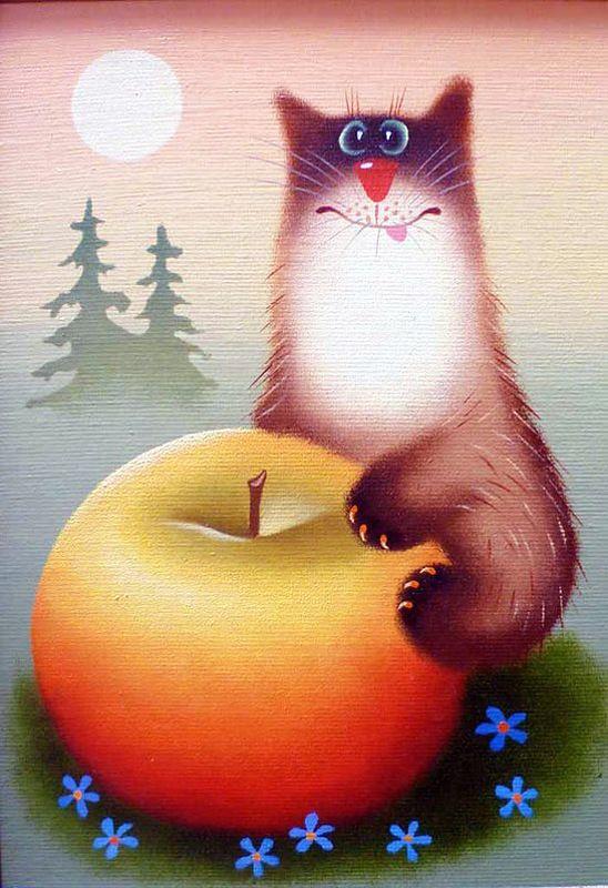 Прикольные рисунки коты кошки, день рождения открытка