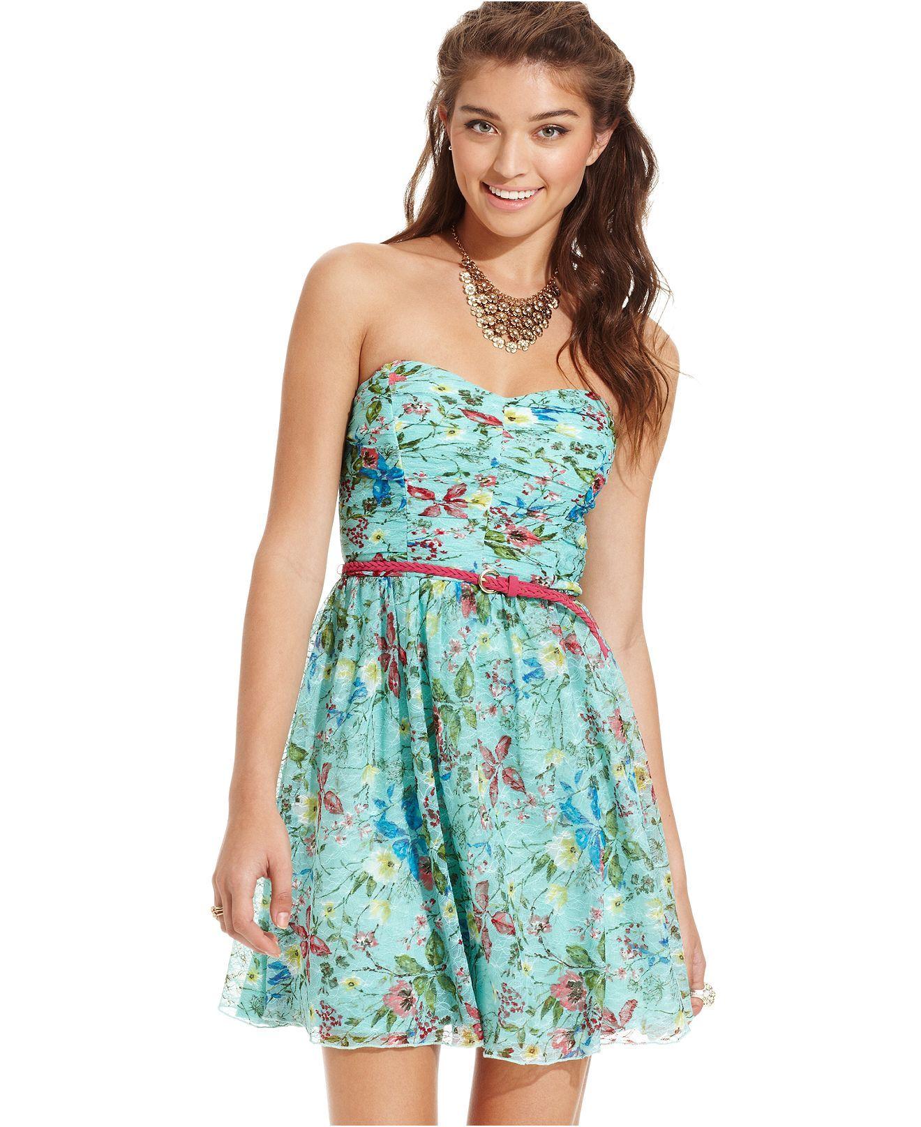 Trixxi Juniors Dress, Strapless Floral-Print A-Line - Juniors ...