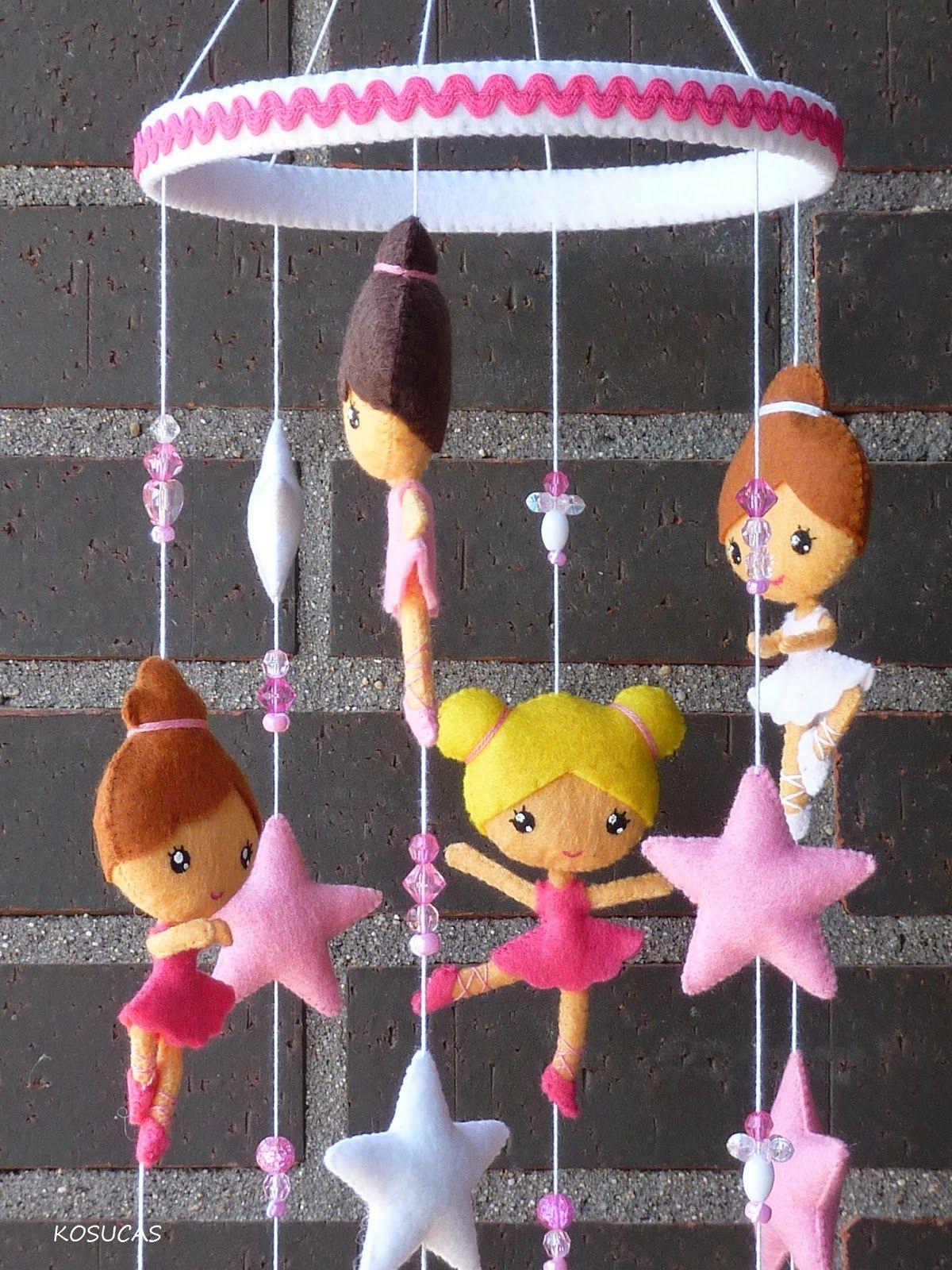 Móvil de fieltro con bailarias. | Inspiración bebés y niños ...