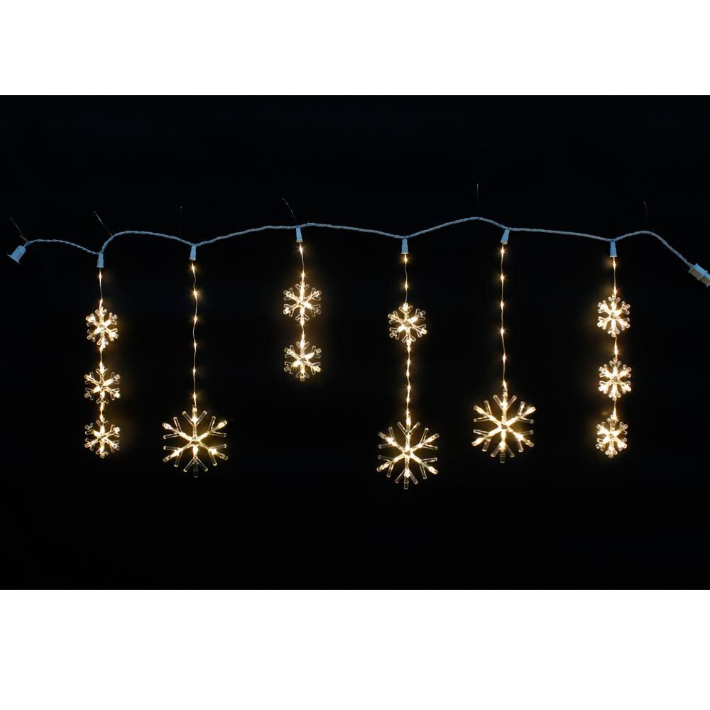 Home Accents Holiday 64 In 150 Light Warm White Micro Dot Led Snowflake Icicle Light Icicle Christmas Lights Decorating With Christmas Lights Icicle Lights