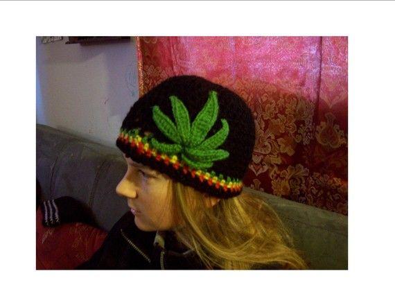 Custom Rasta Pot Beanie Hat Cannabis Marijuana by DesertRDesigns ...