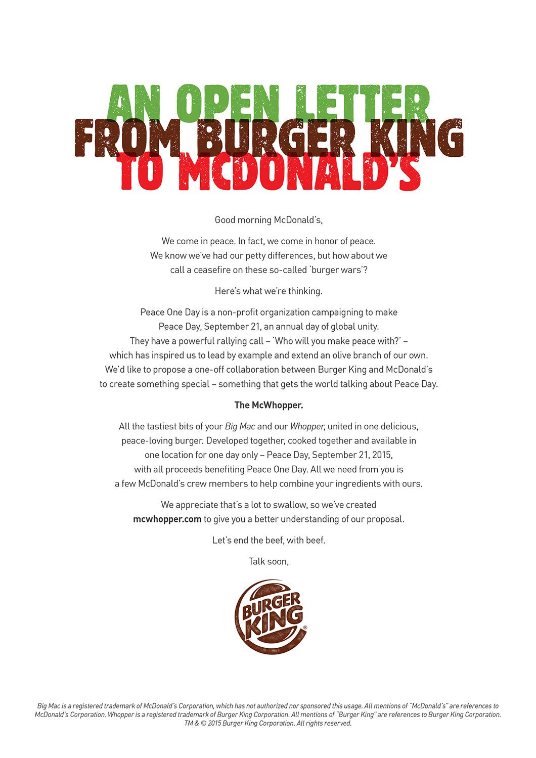 Cannes Lions  Carta Do Burger King Para O McdonaldS Leva Gp