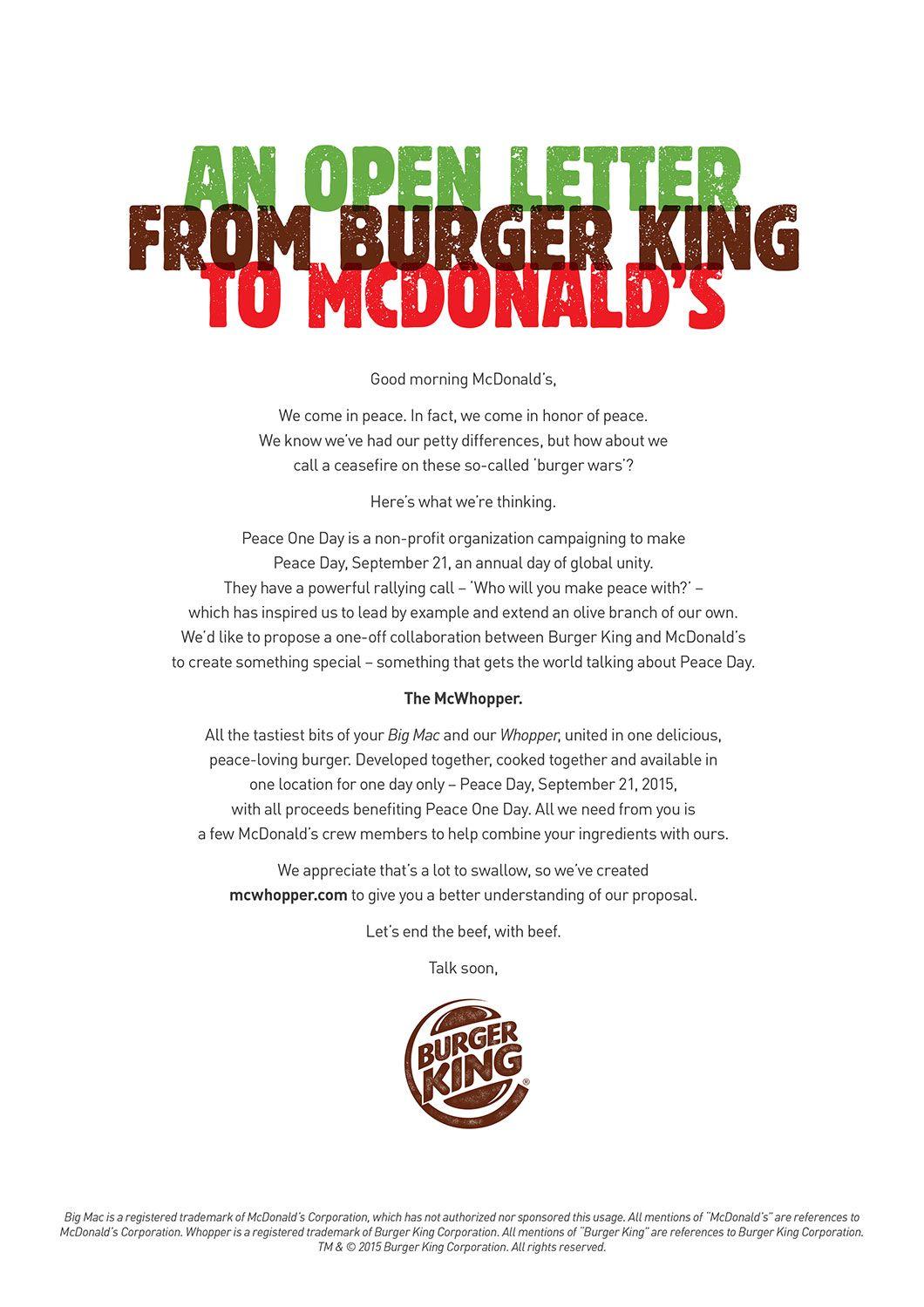 Cannes Lions  Carta Do Burger King Para O McdonaldS Leva Gp