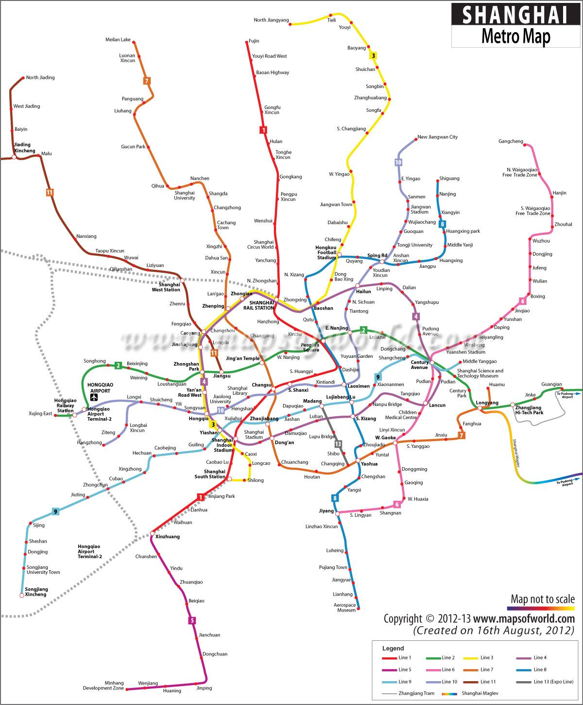 Map Showing The Route Of Metro Rail Networks Of Shanghai City In Asia Metro Map Map Transit Map