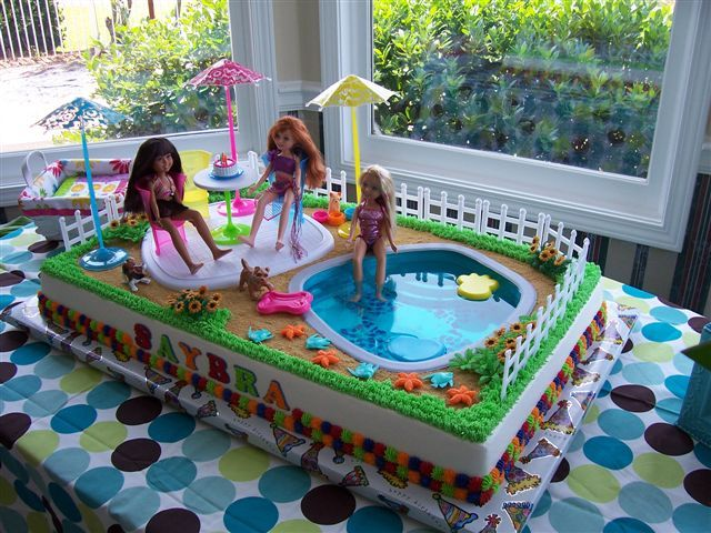 Jelly Swimming Pool And Barbies On Birthday Cake