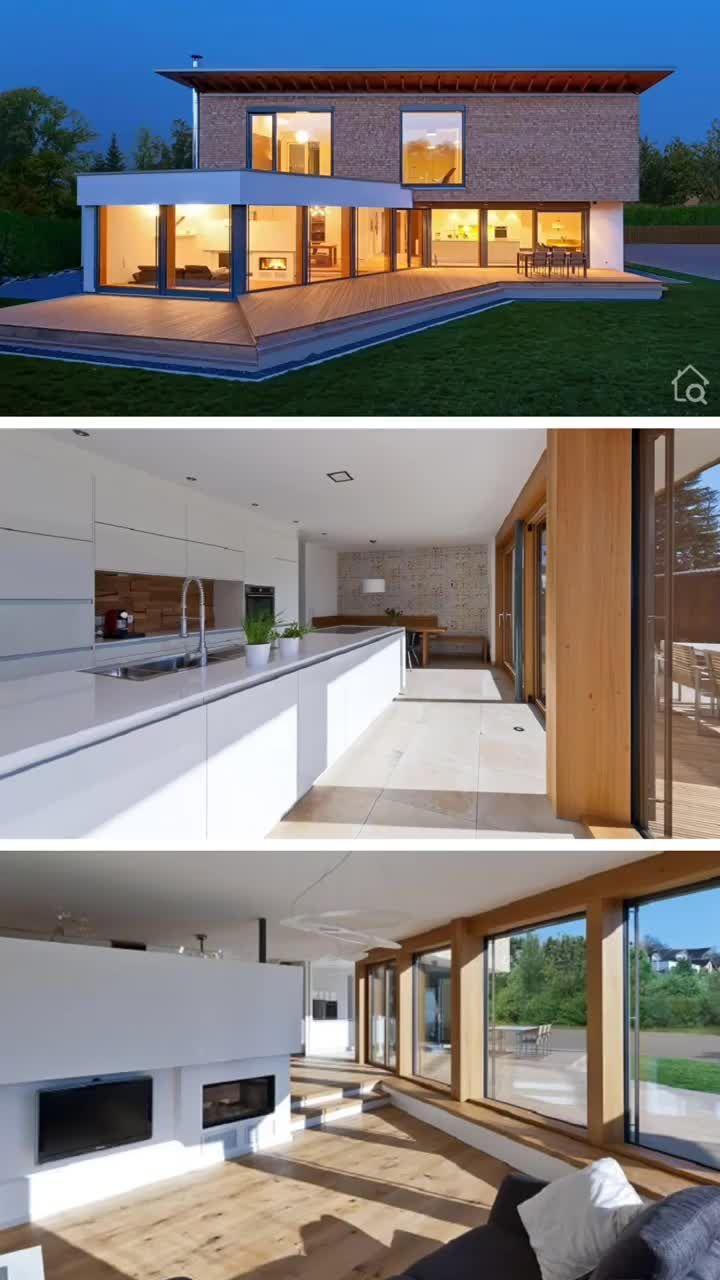 Einfamilienhaus Neubau modern mit Pultdach Architektur, Haus Design Ideen innen Grundriss mit Garage
