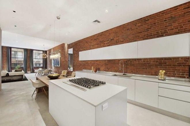 White Kitchen Exposed Brick new york loft white modern sleek open kitchen cococozy exposed
