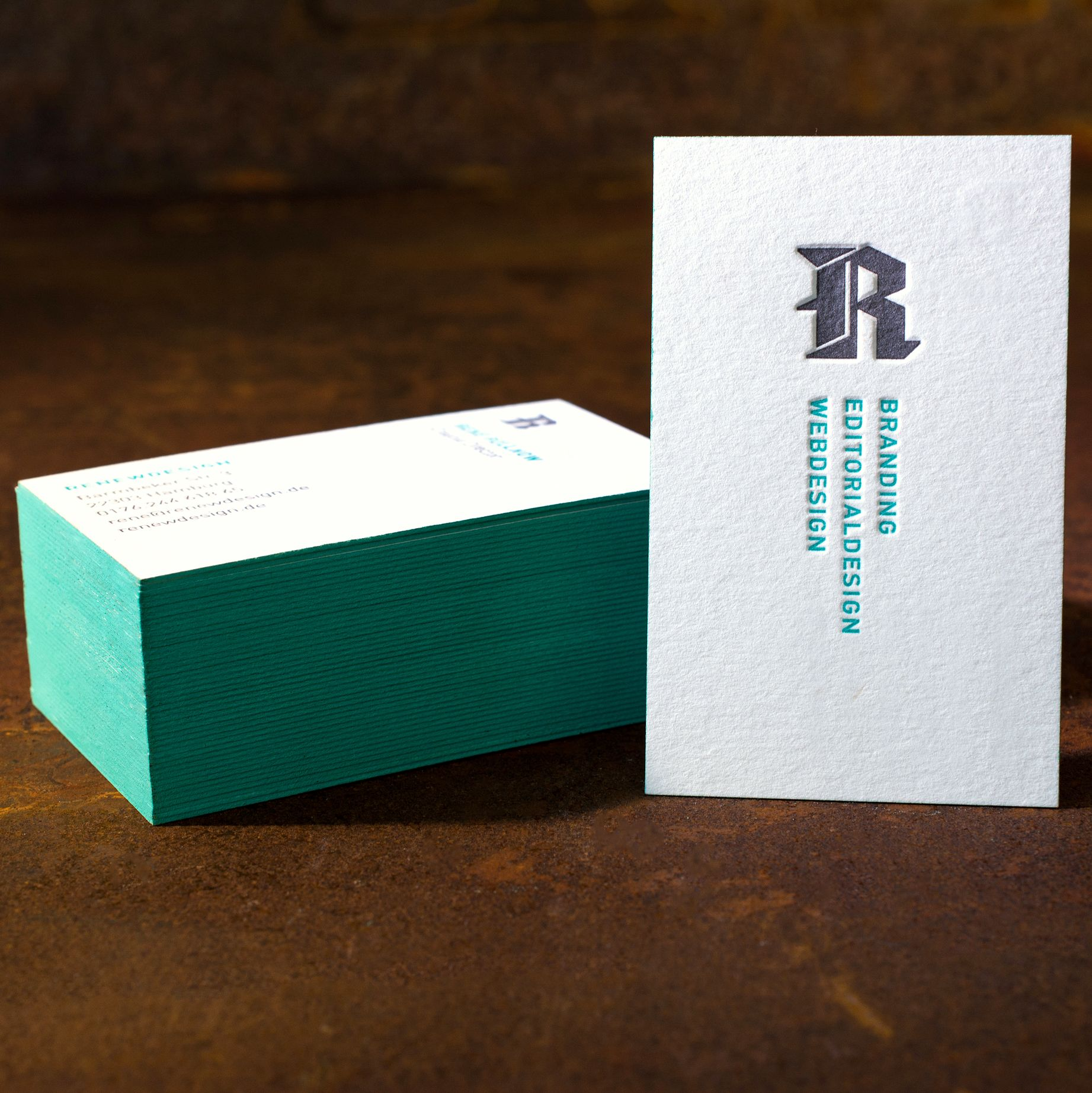 Business Card Letterpress with edge painted
